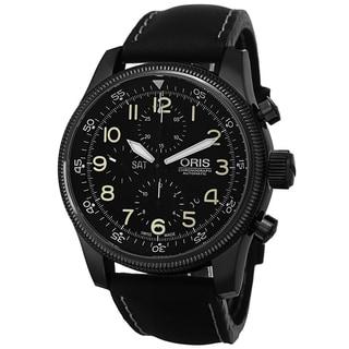 Oris Men's 675 7648 4234 LS 'Big Crown' Black Dial Black Leather Strap Chronograph Watch