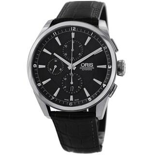 Oris Men's 674 7644 4054 LS 'Artix' Black Dial Black Leather Strap Automatic Chronograph Watch