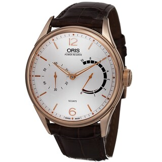 Oris Men's 110 7700 6081 LS '110 Years' Silver Dial Brown Leather Strap Rose Gold Watch