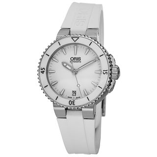 Oris Women's 733 7652 4156 RS 'Divers' White Dial White Rubber Strap Automatic Watch