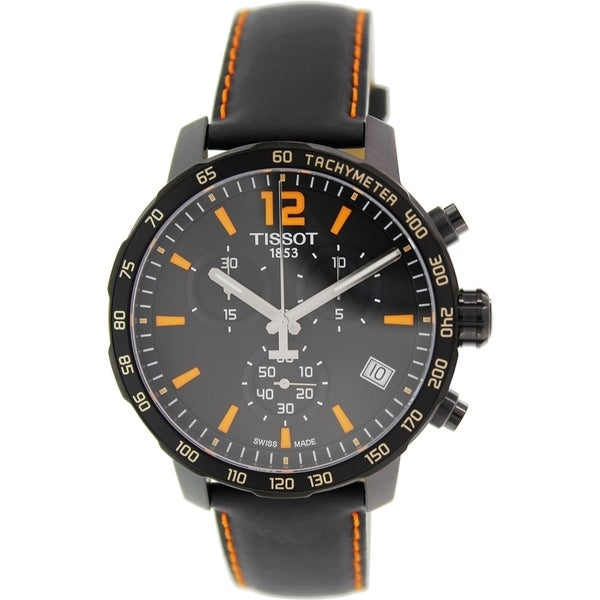 Tissot Men's T0954173605700 'Quickster' Chronograph Black Leather Watch 14796399