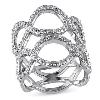 Haylee Jewels Sterling Silver 1/4ct TDW Diamond Infinity Fashion Ring (G-H, I2-I3)