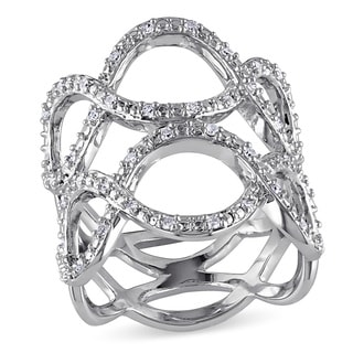 Haylee Jewels Sterling Silver 1/4ct TDW Diamond Infinity Ring (G-H, I2-I3)