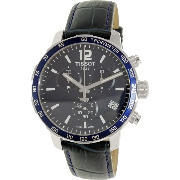 Tissot Men's T0954171604700 'Quickster' Chronograph Blue Leather Watch 14796406