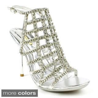 Celeste Women's Ocean-16Z Strappy Caged Rhinestone Heels