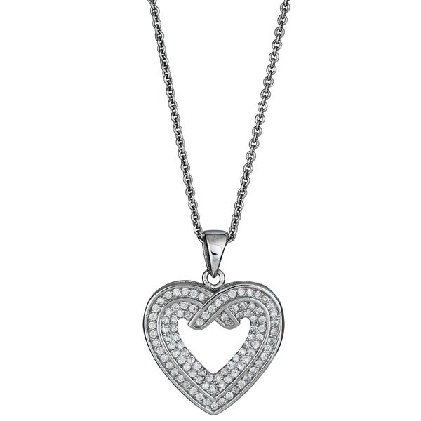 Sterling Silver Micropave CZ Open Heart Pendant