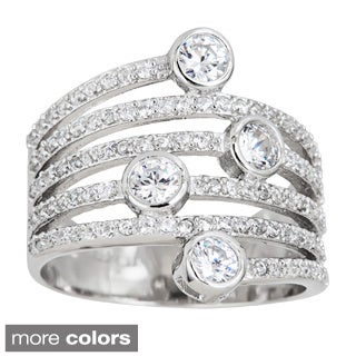 Sterling Silver Cubic Zirconia Accent Stacked Look Ring