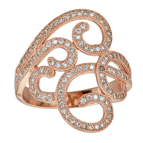 Sterling Silver 1K Rose Gold Plated CZ Filigree Ring