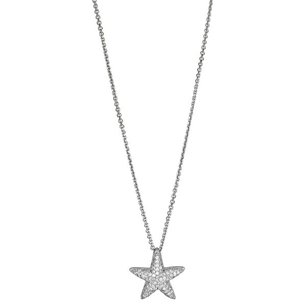 Sterling Silver Micropave CZ Starfish Pendant