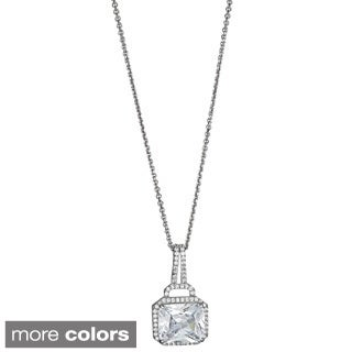 Sterling Silver Micropave and Radiant Cut CZ Solitaire Pendant
