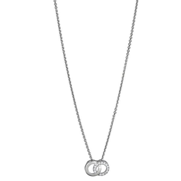 Sterling Silver Micropave CZ Interlocking Circle Pendant