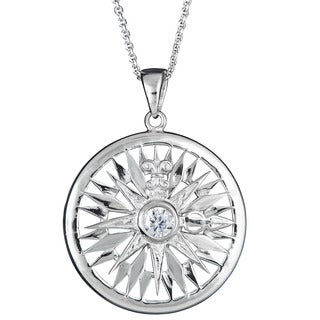 Sterling Silver Micropave Cubic Zirconia Sun Pendant