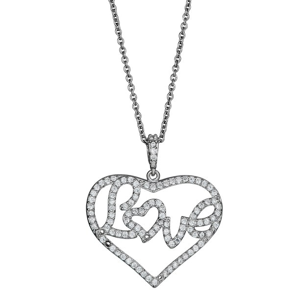 Sterling Silver Micropave CZ Love in a Heart Pendant
