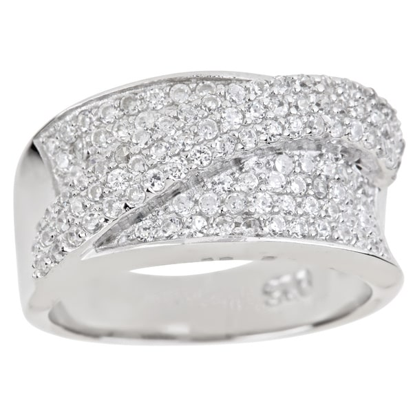 Sterling Silver Micropave Cubic Zirconia Crossover Ring