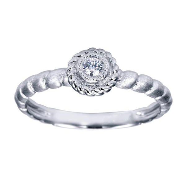 14k White Gold Diamond Accent Twisted Band Promise Ring