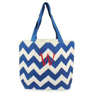 Personalized Blue Chevron Parchment Jute Tote