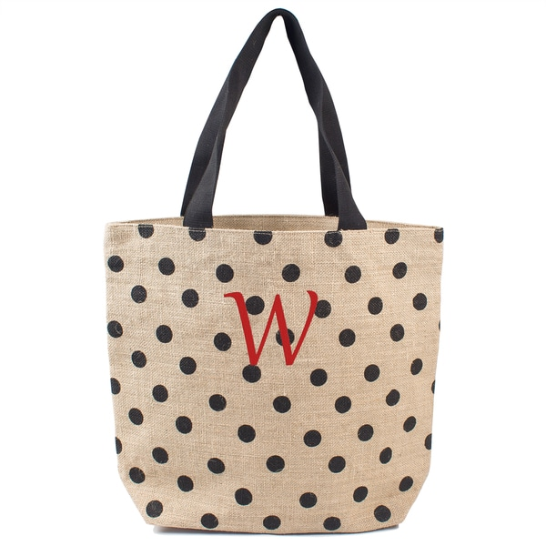 Monogrammed Black Polka-dot Natural Jute Tote