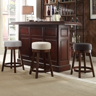 INSPIRE Q Reese Cherry Swivel 24-inch Linen Round Counter Stool (Set of 2)