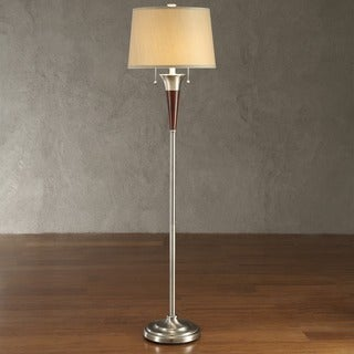 INSPIRE Q Kedzie Brushed Nickel Contoured Base 2-light Accent Floor Lamp