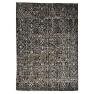 Handmade Black Wool/ Silk Rug (10'1 x 14'3)