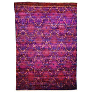 Handmade Multi-colored Sari silk Rug (8'1 x 11'2)