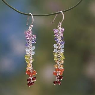 Sterling Silver 'Joyous Life' Multi-gemstone Earrings (India)