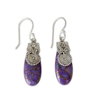 Handcrafted Sterling Silver 'Purple Enigma' Turquoise Earring (India)