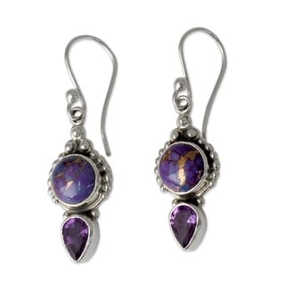 Handmade Sterling Silver Vision in Purple Amethyst Turquoise Dangling Style Earrings (India)