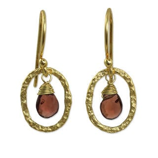 Handcrafted Gold Overlay 'Crimson Portal' Garnet Earrings (Thailand)