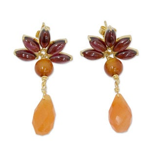 Gold Overlay 'Fiery Lotus' Garnet Carnelian Earrings (India)