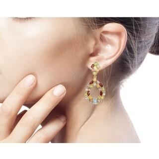 Gold Overlay 'Treasure of Jaipur' Multi-gemstone Earrings (India)