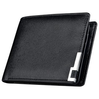 Zodaca Black Leather Pocket Wallet with 10 Business/ ID/ Credit/ SIM Card Slots and Photo Display