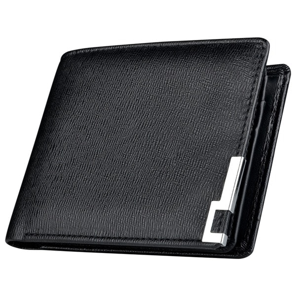 Zodaca Black Men Leather Pocket Wallet with 10 Business/ ID/ Credit/ SIM Card Slots and Photo Display