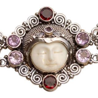 Sterling Silver 'Princess' Amethyst Garnet Bracelet (Indonesia)