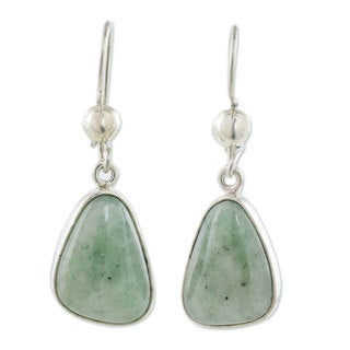 Handcrafted Sterling Silver 'Apple Green' Jade Earrings (Guatemala)