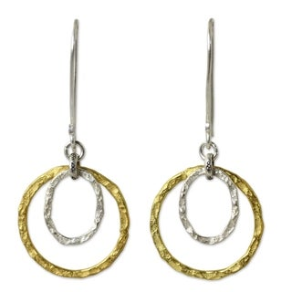 Handcrafted Gold Overlay 'Moonrise' Earrings (Thailand)