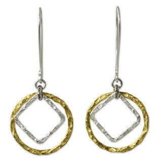 Handcrafted Gold Overlay 'Moonrise Window' Earrings (Thailand)