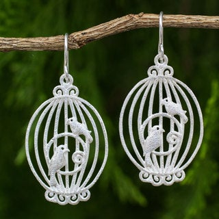 Handcrafted Sterling Silver 'Nightingale Romance' Earrings (Thailand)
