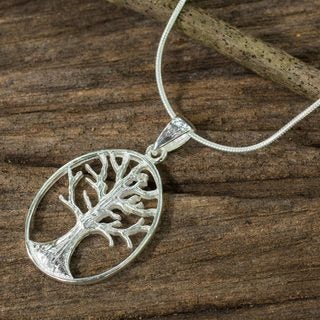Handcrafted Sterling Silver 'Winter Tree' Necklace (Thailand)