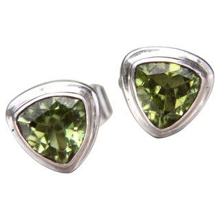 Sterling Silver 'Green Trinity' Peridot Earrings (Indonesia)