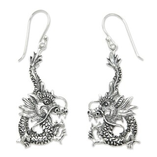 Handcrafted Sterling Silver 'Dragon Splendor' Earrings (Indonesia)