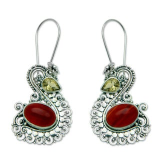 Sterling Silver 'Balinese Swan' Carnelian Citrine Earrings (Indonesia)