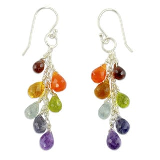 Handcrafted Sterling Silver 'Vibrancy' Multi-gemstone Earrings (India)