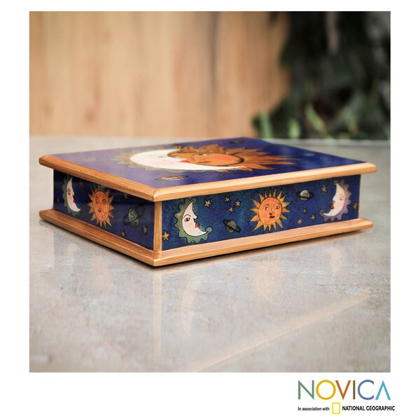 Handcrafted Reverse Painted Glass 'Sun Moon Attraction' Box (Peru)
