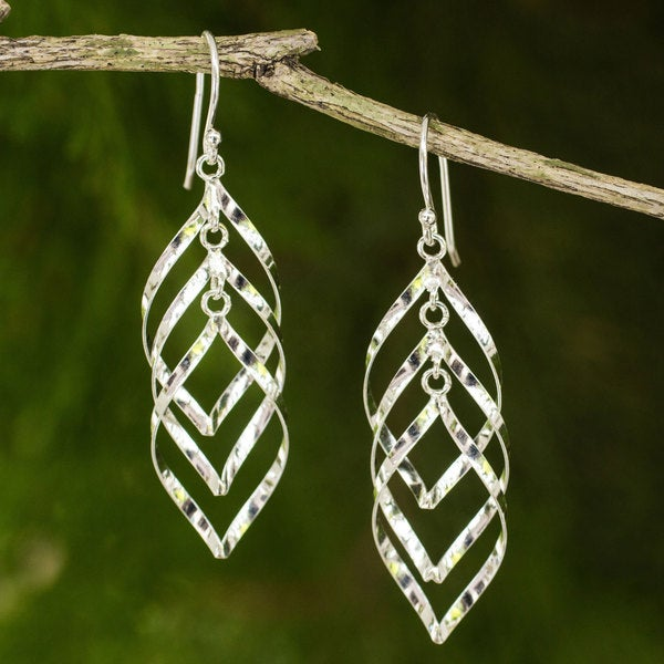 Handcrafted Sterling Silver 'Leaf Cluster' Earrings (Thailand)