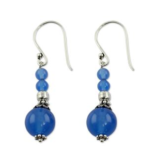 Handcrafted Sterling Silver 'Heavenly' Chalcedony Earrings (India)
