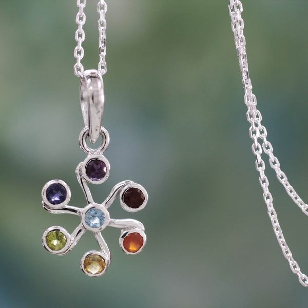 Sterling Silver 'Harmony Within' Multi-gemstone Necklace (India)