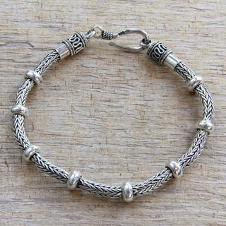 Dragons Valor Strong Naga Snake Chain Bracelet with Rondelle Accents Handmade 925 Sterling Silver Mens Bracelet (Indonesia)