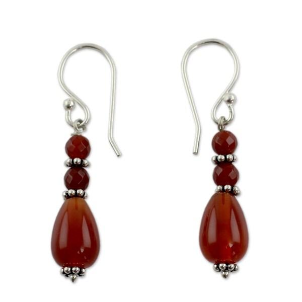Handmade Sterling Silver 'Vibrant Jaipur' Carnelian Earrings (India) 14799247