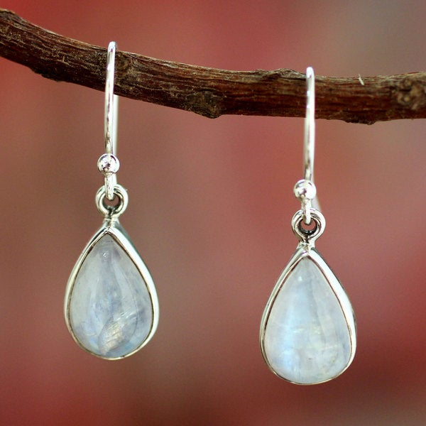 Sterling Silver 'Luminous Light' Moonstone Earrings (India)